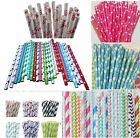 25 STRIPED  PAPER STRAWS DRINKING PARTY BIRTHDAY VINTAGE POLKA HEART STRIPE UK