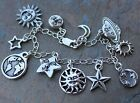 Night & Day celestial symbols charm bracelet - pewter on sterling silver chain