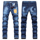 New Mens Italy Style Distressed Multiple Patched Slim Blue JEANS Trousers D1448T