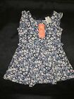 BNWT GIRLS SIZE 1 NAVY BLUE FLORAL PRINT FULLY LINED DRESS NEW
