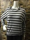 Womens Casual Black White Grey Striped Shirt Long Sleeve Hooded Pullover Hoodie