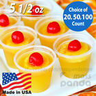5 1/2 oz Extra Large Jello Jelly Shot Portion Cups w/ Lids Option, Clear Plastic