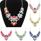 Crystal Flower Bib Statement Necklace Bubble Choker Collar Pendant Chain Natural