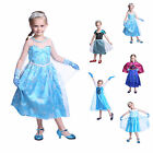 Kids Girls Costume Cosplay Party Princess Frozen Elsa Anna Dress Christmas
