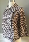 NWT $139 CHICOS Zebra 3/4 Sleeve Lace Crop Swing Jacket Top Brown Size  0, 1, 2
