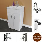 Bathroom Cloakroom Turin 500mm Small Vanity Unit Gloss White Modern Cabinet