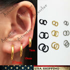 black earrings for men - 7/10/12mm (3Pairs) Mens Womens Stainless Steel Tube Hoop Ear Ring Stud Earrings