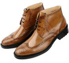 New Men's Shoes Cow Leather Cowboy Ankle Boots Business Casual Brown Size 5~9~11