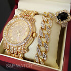 MEN HIP HOP ICED OUT GOLD TONE BEST SELLER WATCH & RING & BRACELET COMBO SET  image