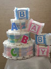 3 Tier Diaper Cake Baby Shower Gift Centerpiece - Boy Girl Unisex