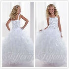 New Flower Girl Dress Wedding Bridesmaid Prom Pageant Party custom colour White