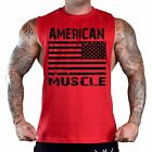 Men's Black American Muscle Red T-Shirt Tank Gym Workout Fitness Athletic Flag