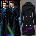 Fashion Mens Double Breasted Long Trench Coat Casual British Slim Lapel Peacoat