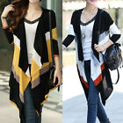 Woman Striped Knit Overcoat Loose Conditioner Coat Sweater Jacket Cardigan