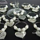 Personalised Wedding Top Table Decoration Champagne Wine Glass Charm Favour DIY