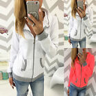 Woman Hoodie Jumper Pullover Casual Fashion Sweater Splice Coat Jacket