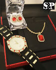 MENS HIP HOP ICED OUT GOLD PT CZ WATCH & RUBY NECKLACE & EARRINGS GIFT COMBO SET image