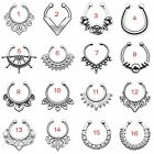1PC Surgical Steel Fake Septum Non-Piercing Nose Ring Hoop Ring Hanged Beaded US