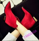 Womens Pointed Toe Hidden High Rhinestone Suede Wedge Casual Shoes Ankle Boots