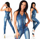 Sexy New Women's Denim Jeans Navy Playsuit Jumpsuit  Overall Skinny Slim X 612