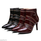 Women's Real Leather Pointed Shoes High Heels Pumps Zip Ankle Boots US Size b137