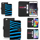 pu leather wallet case for many Mobile phones - blue zebra print