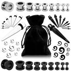 Set Flesh Tunnel Ear Plug Piercing Taper Expander Stretcher Spirals Jewelry Bag