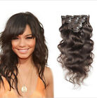 "New Body Wave  #4 Brown Clip In Hair Real  Human Hair Extension Thick 16""-30"""