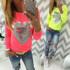 Fashion Women Casual Heart Love Round Neck Long Sleeve Top T-shirt Blouse