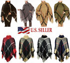Pullover Plaid Checked Knitted Turtleneck Poncho Batwing Fringe Cape Sweater