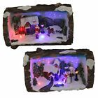 Christmas Decoration Fibre Optic Log Scene 523019 Santa or Snowman