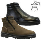 NEW MENS LEATHER FUR TWIN ZIP WALKING HIKING WINTER WORK ANKLE BOOTS SHOES SIZE