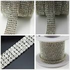 1-row/2-row/3-row/4-row/5-row crystal rhinestone trims close silver chain ss16