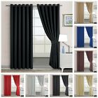 Thermal Blackout Ring-Top Ready Made Eyelet Curtains With FREE Pair of Tiebacks