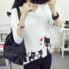 Autumn Girl Loose Cute Cat  Pattern Printed Cotton Casual Tops Shirt Blouse A+++