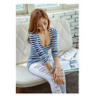 Newest Womens Low Crew Neck Striped T-shirt Tops Long Sleeve Casual Slim Blouse