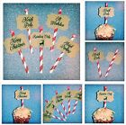 Deluxe Christmas Cupcake Decoration Signs - North Pole Reindeer Elf Red & White