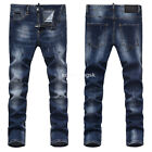 New Mens Italy Slim Pants Washed Blue Distressed Denim JEANS Trousers P831T