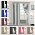 Thermal Blackout Pencil Pleat Pair Curtains Interwoven Lined Ready Made+Tiebacks