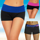 Women's Sexy Mini Knockout Yoga Exercise Gym Workout Fitted Soft Shorts Natural