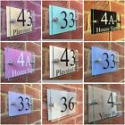 MODERN HOUSE SIGN PLAQUE DOOR NUMBER STREET GLASS ACRYLIC PASTEL BACKINGS