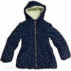 Ex Chain Store Girls Winter Fleece Lined Navy Blue Jacket Coat School  Sz 2-7
