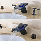 LED Waterfall Basin Sink Faucet Dual Knobs Oil Rubbed Bronze Lavatory Faucet Tap