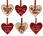 FESTIVE Fabric Padded HEART with CHEERFUL SAYING Christmas Decoration Bauble