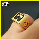 NEW MENS LUXURY RAPPERS GOLD PT HIP HOP  MASONIC FREEMASON STAINLESS STEEL RING