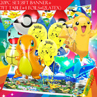 9PC SET Pokemon BalloonS party pikachu balloons go TABLE COVER banner cupcake