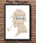 Sherlock Holmes Detective Police Personalised Word Art Retirement Gift Print