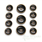 Sets of Modern Burnt-Rim Black Buffalo Horn Suit and Coat Buttons, Made in Italy