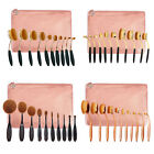 Pro 10PCS Makeup Brushes Set Foundation Toothbrush Shaped Oval Cream Puff+Bag