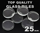 25mm Round Glass Tiles - Crystal Clear Circle Flat Cabochons - FREE SHIPPING